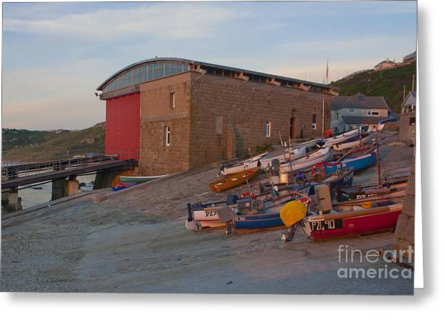 Sennen Cove Greeting Cards - Cove Fishing Fleet at Sunset Greeting Card by Terri  Waters