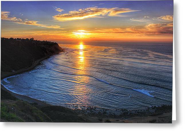 Palos Verdes Cove Greeting Cards - Cove Sunset Greeting Card by Victoria Mann