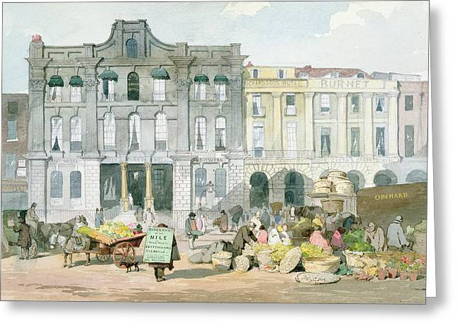 Horse And Cart Greeting Cards - Covent Garden Market Wc On Paper Greeting Card by English School