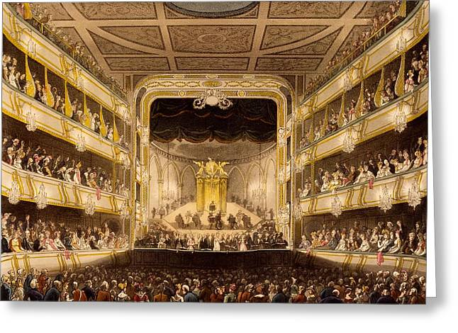 West End Greeting Cards - Covent Garden Theatre, From Microcosm Greeting Card by T. & Pugin, A.C. Rowlandson