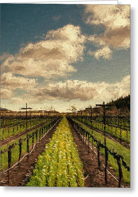 Sonoma County Vineyards. Mixed Media Greeting Cards - Cover Crop in Rows Greeting Card by John K Woodruff
