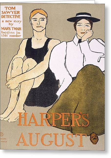 Bathing Greeting Cards - Cover Of Harpers Magazine, 1896 Greeting Card by Edward Penfield