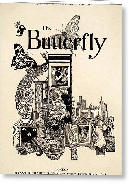 Collage Drawings Greeting Cards - Cover Of The Butterfly Magazine Greeting Card by English School