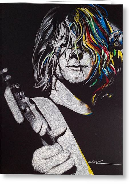 Kurt Cobain Greeting Cards - cover the Hair in Your Eyes Greeting Card by Christian Chapman Art