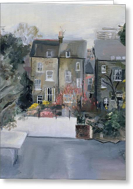 Terrace Greeting Cards - Coverdale Road Oil On Canvas Greeting Card by Sophia Elliot