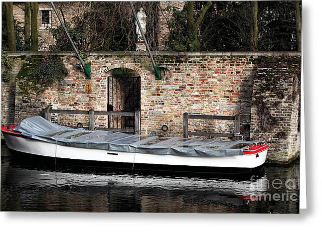 Medieval Buildings Greeting Cards - Covered Boat Greeting Card by John Rizzuto