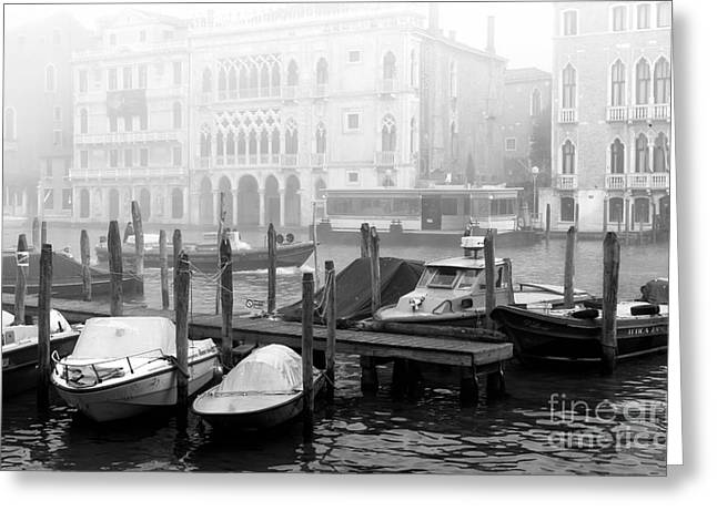 Boats In Water Greeting Cards - Covered Boats in Venice Greeting Card by John Rizzuto