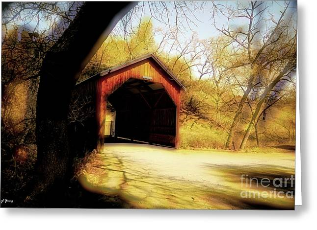 Old Country Roads Greeting Cards - Covered Bridge 2 Greeting Card by Cheryl Young