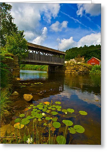 Covered Bridge Across A River, Vermont Greeting Card by Panoramic Images