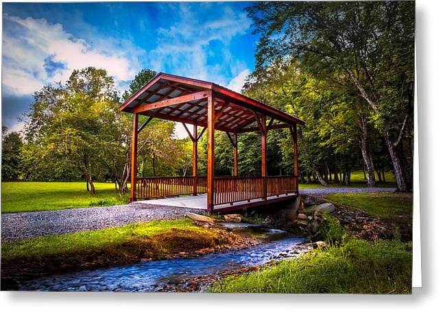Old Country Roads Greeting Cards - Covered Bridge Along the Lane Greeting Card by Debra and Dave Vanderlaan