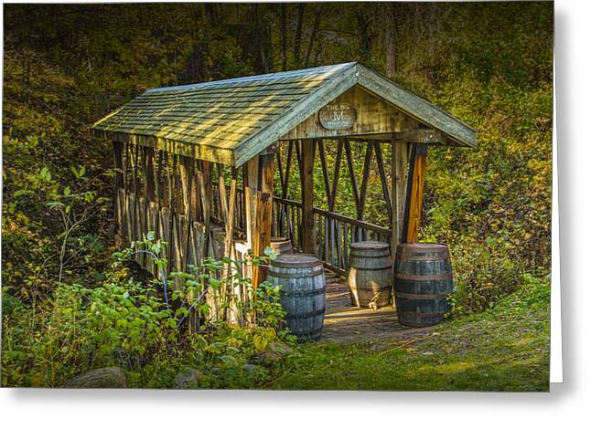 Cider Mill Greeting Cards - Covered Bridge at Bowens Cider Mill Greeting Card by Randall Nyhof