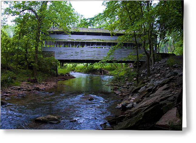 Covered Bridge Greeting Cards - Covered Bridge at Valley Forge in Springtime Greeting Card by Bill Cannon