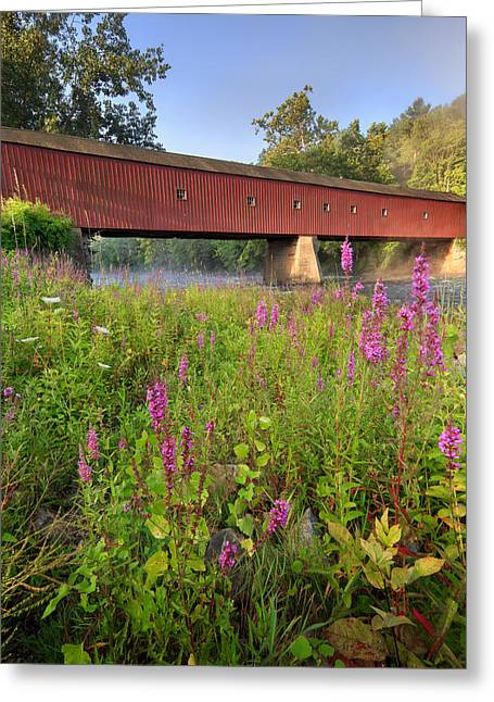 Housatonic River Greeting Cards - Covered Bridge West Cornwall Greeting Card by Bill  Wakeley