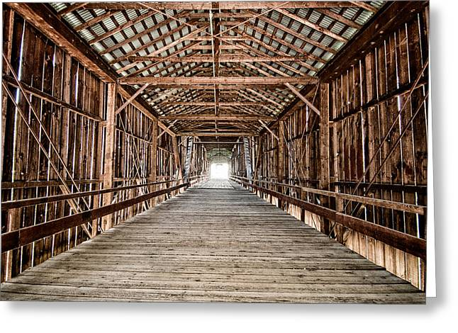 Bridge Greeting Cards - Covered Bridge Greeting Card by Cat Connor