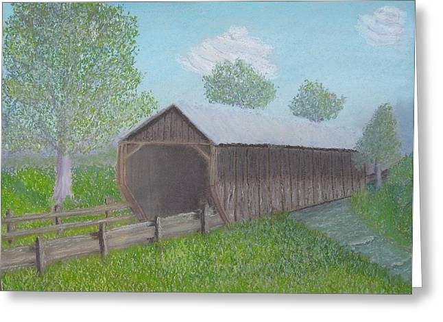 Covered Bridge Pastels Greeting Cards - Covered Bridge Greeting Card by Cathy Pierce Payne