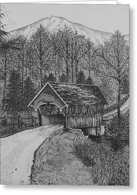 Mountain Road Drawings Greeting Cards - Covered Bridge Greeting Card by Christine Brunette