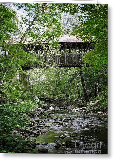 New Hampshire Leaves Greeting Cards - Covered Bridge Cornish New Hampshire Greeting Card by Edward Fielding