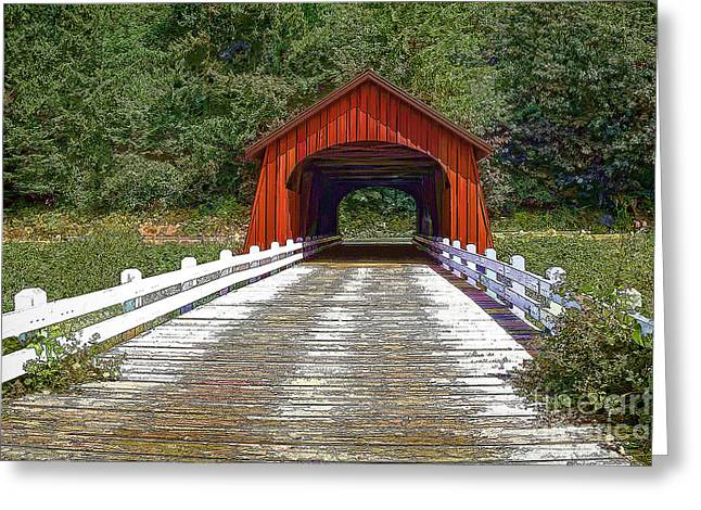 Old Roadway Greeting Cards - Covered Bridge-D Greeting Card by Nancy Marie Ricketts
