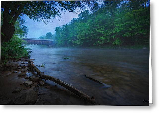 Misty Bridge Greeting Cards - Covered Bridge  Greeting Card by Everet Regal