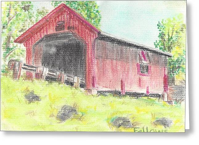 Covered Bridge Pastels Greeting Cards - Covered Bridge Greeting Card by Florence Fellows