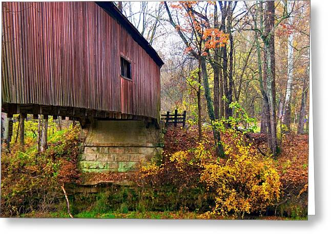 Indiana Autumn Greeting Cards - Covered Bridge in Autumn Greeting Card by Norm Hoekstra
