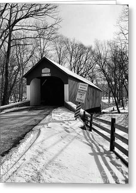 Old Country Roads Greeting Cards - Covered Bridge in Black and White Greeting Card by Paul Ward