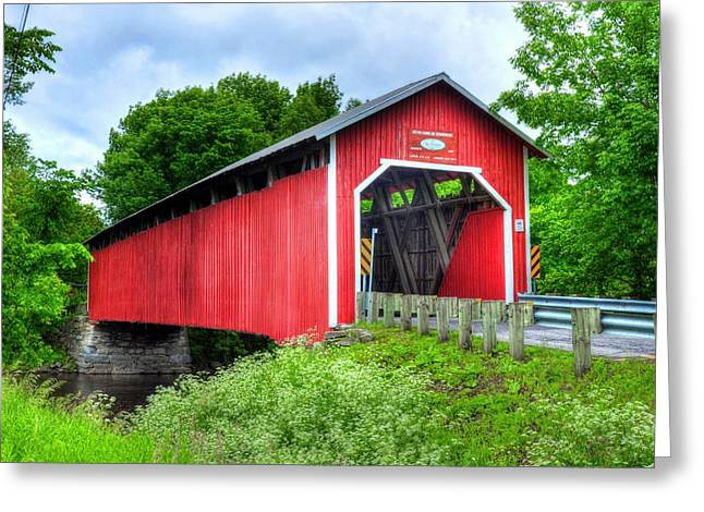 Quebec Province Greeting Cards - Covered Bridge In Canada Greeting Card by Mel Steinhauer