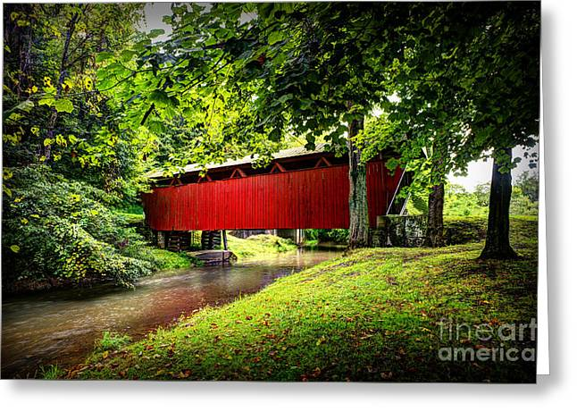 Covered Bridge In Pa Greeting Card by Dan Friend
