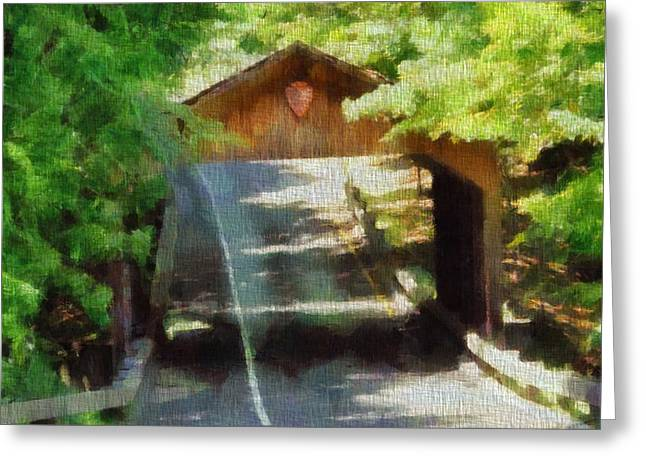 Blue Green Wave Greeting Cards - Covered Bridge In Sleeping Bear Dunes National Lakeshore Greeting Card by Dan Sproul