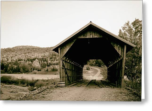 Analog Greeting Cards - Covered Bridge in Vermont Greeting Card by Mountain Dreams