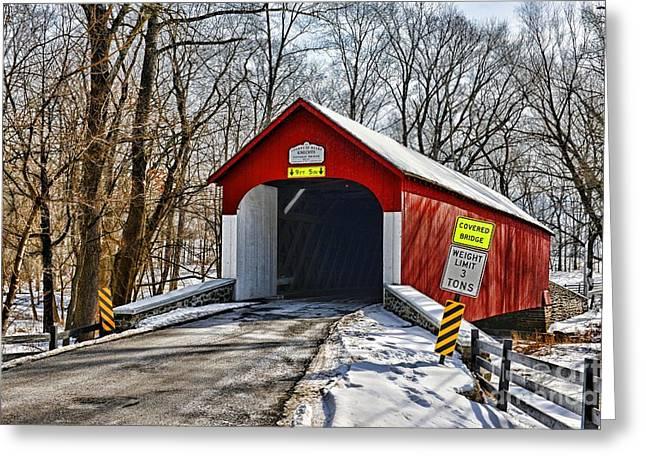 Truss Bridge Greeting Cards - Covered Bridge in Winter  Greeting Card by Paul Ward