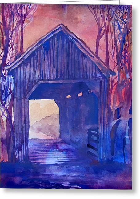 Indiana Autumn Paintings Greeting Cards - Covered Bridge Greeting Card by James Huntley