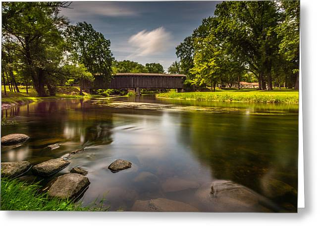 Cedar Creek Greeting Cards - Covered Bridge Long Exposure Greeting Card by Randy Scherkenbach