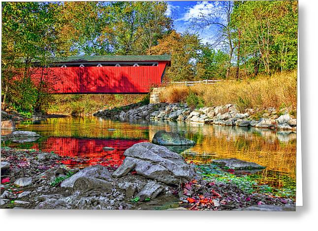 Mid West Landscape Art Greeting Cards - Covered Bridge Greeting Card by Marcia Colelli