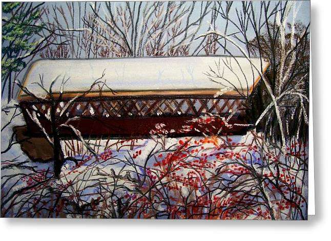 Covered Bridge Pastels Greeting Cards - Covered bridge of Henniker Greeting Card by Ruth  Sears