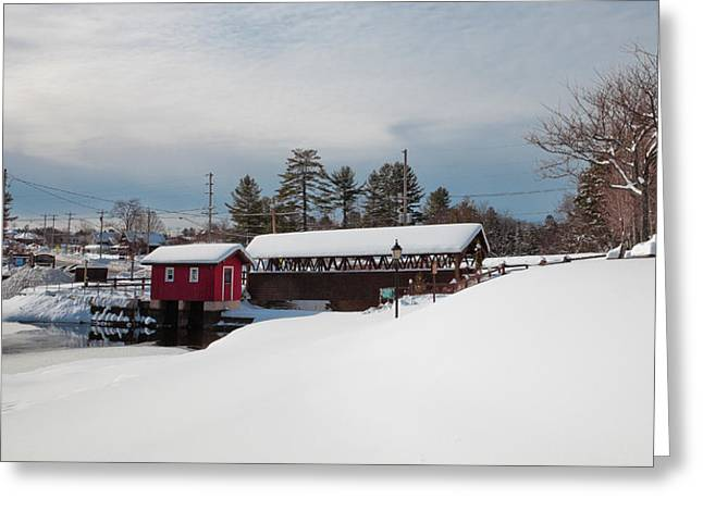 Snow-covered Landscape Greeting Cards - Covered Bridge - Old Forge NY Greeting Card by David Patterson
