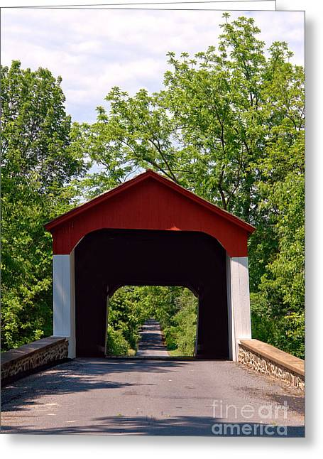Covered Bridges Greeting Cards - Covered Bridge Greeting Card by Olivier Le Queinec