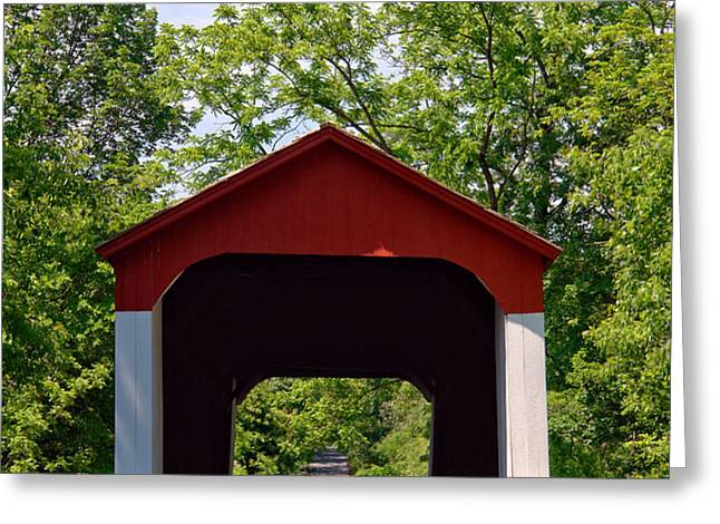 Covered Bridge Greeting Card by Olivier Le Queinec
