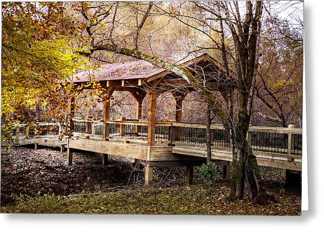 Red Roofed Barn Greeting Cards - Covered Bridge on the River Walk Greeting Card by Debra and Dave Vanderlaan