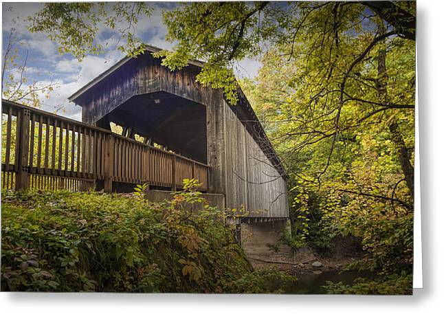 Old Roadway Greeting Cards - Covered Bridge on the Thornapple River in Ada Michigan Greeting Card by Randall Nyhof