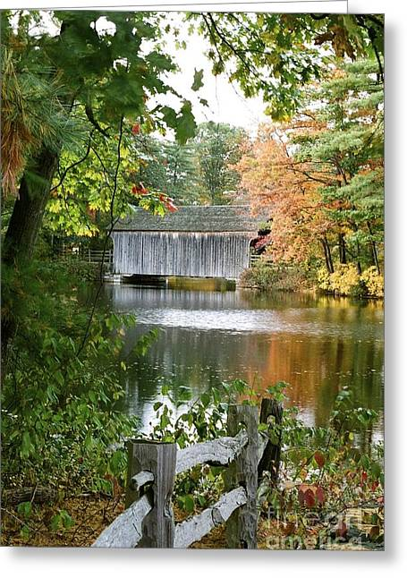 New England Village Greeting Cards - Covered Bridge Over the Lake Greeting Card by Vinnie Oakes