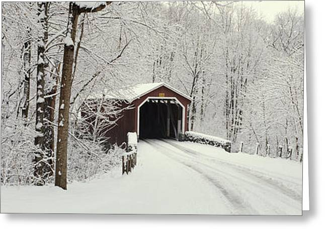 Wintry Photographs Greeting Cards - Covered Bridge Pa Greeting Card by Panoramic Images