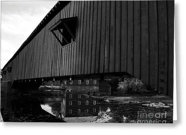Bridgeton Covered Bridge Greeting Cards - Covered Bridge Reflections BW Greeting Card by Mel Steinhauer