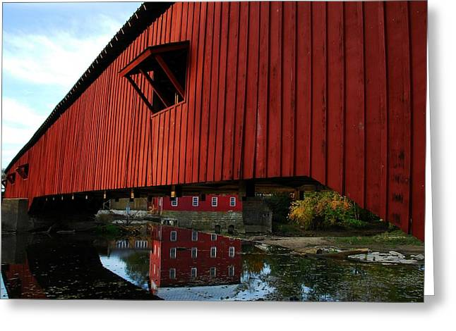 Bridgeton Mill Greeting Cards - Covered Bridge Reflections Greeting Card by Mel Steinhauer