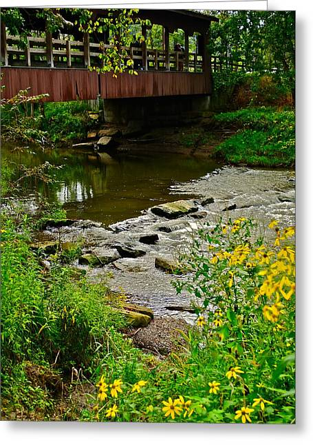 Stream Greeting Cards - Covered Bridge Greeting Card by Frozen in Time Fine Art Photography