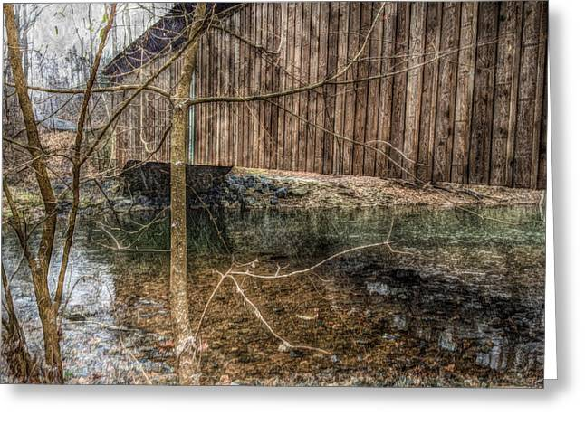 Covered Bridge Snowy Day Greeting Card by Susan Maxwell Schmidt