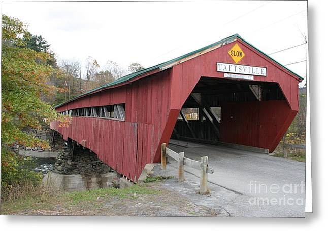 Covered Bridge Taftsville Greeting Card by Christiane Schulze Art And Photography
