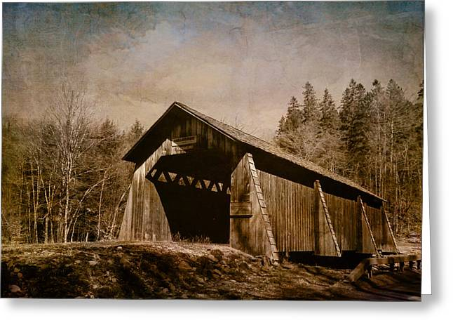 Historical Images Greeting Cards - Covered Bridge-Textured Image Greeting Card by Pamela Phelps