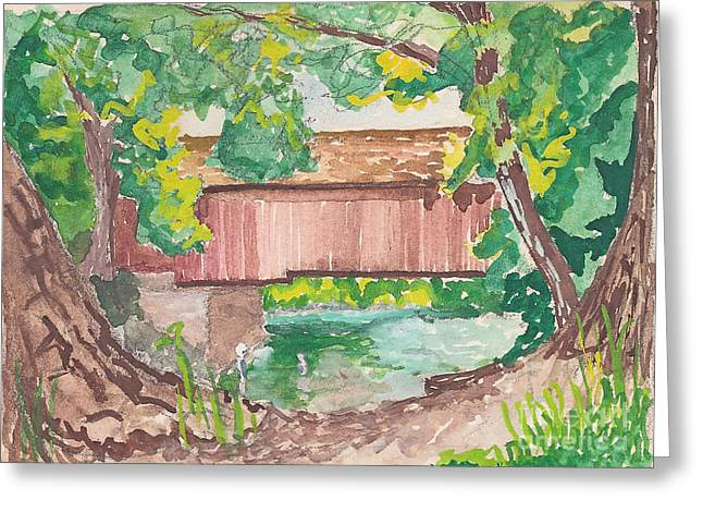 Old And New Mixed Media Greeting Cards - Covered Bridge Watercolor Greeting Card by Fred Jinkins