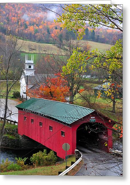 Covered Bridges Greeting Cards - Covered Bridge-West Arlington Vermont Greeting Card by Thomas Schoeller